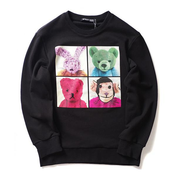 19SS New 2019 Men 3d Animals Dolls Gentleman Hoodies Hoody Hooded Sweatshirts Velvet Cotton Drake Thicken Fleece #j54
