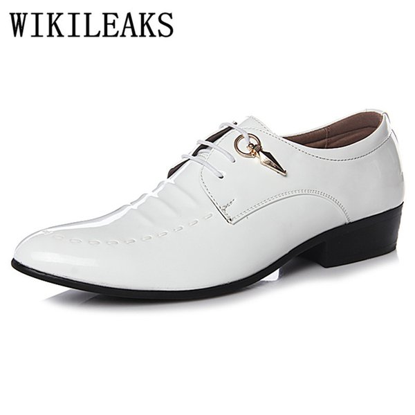 fd7096fc9cb zapatos formales oxford para hombre zapatos zapatillas hombre marca de  diseño italiano charol negro blanco para