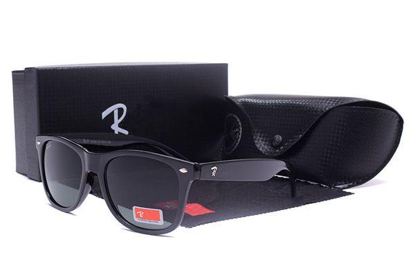 Nuevo Popular diseñador de los hombres de alto gradologotipo de Ray Ban gafas de sol en diseñador de los hombres de la lente gafas de sol brillante Negro