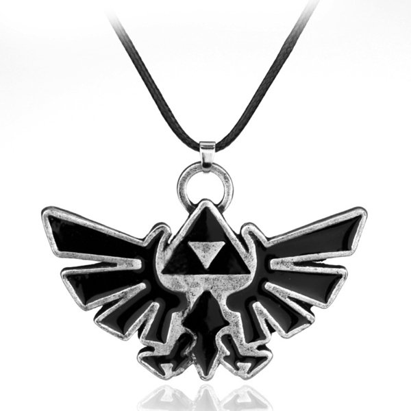 10pcs The Legend Of Collares Zelda Triforce Hylian Crest Pendant Necklace Collier Game Jewelry C19041203