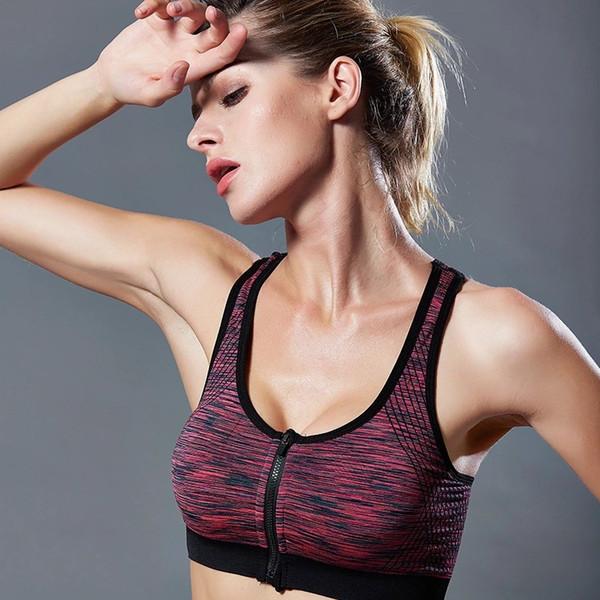 Professional Sports Zipper Bra Senza anello in acciaio Raccogliere sonno antiurto Esecuzione signore biancheria intima senza giunte di yoga fitness Vest