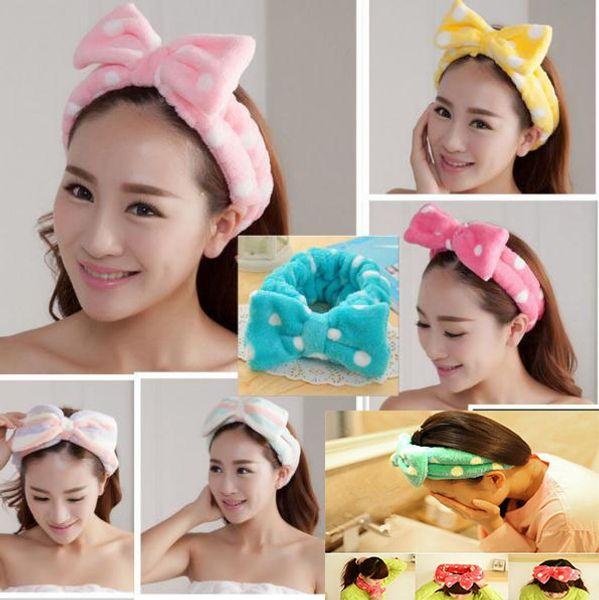 Mujeres pelo elástico Coral Velvet Big Bow lunares de la raya del baño de lavado cara maquillaje y belleza ducha diadema Headwear dc104