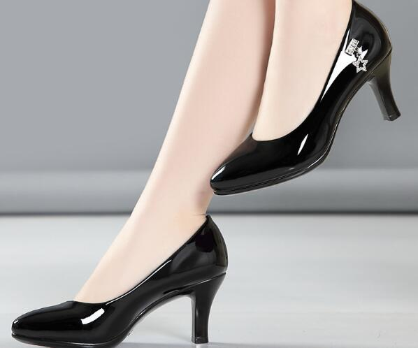 Designer luxury leather professional high heel women's shoes pointed ladies dress shoes large size 34-42A1