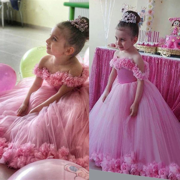 Pink 3D Floral Ball Gown Flower Girls Dresses Off Shoulder Puffy Toddler Pageant Dress Wedding Little Baby Gowns for Communion