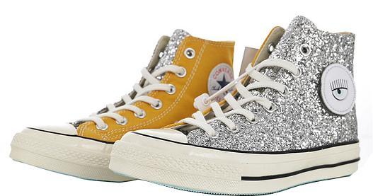 Großhandel Womens Chiara Ferragni Chuck Glitter Silber Hallo Vulkanisierte Schuhe Weibliche Canvas Schuh Mädchen Schule Turnschuhe Knöchelhoch