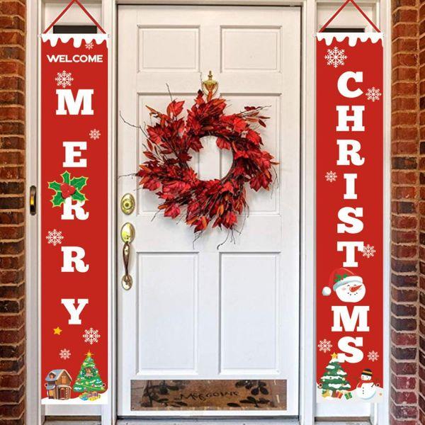 Decoração de suspensão da porta do Feliz Natal para decorações exteriores internas da exposição da porta