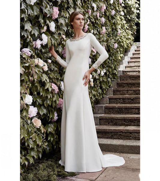 Abiti da sposa semplici della sirena modesto con le maniche lunghe in rilievo da donna abito informale vestito da cerimonia nuziale modesto
