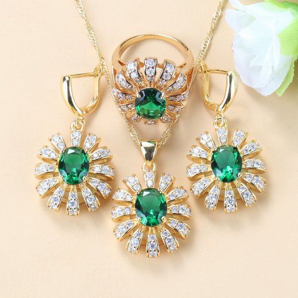 Big Flower Three Piece Jewelry Sets Green Cz Gold Color Earrings