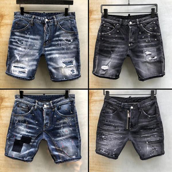 2019 Pantalones cortos de diseñador para hombre Pantalones cortos para hombre desgastados y desgastados Pantalones vaqueros Motociclista Pantalones vaqueros AGUJERO causal Pantalones cortos de mezclilla Pantalones vaqueros cortos kg