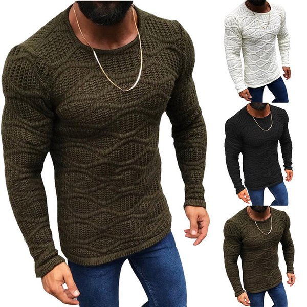 cysincos men's autumn knitted sweater long sleeve slim fit solid color sweater 2019 winter new fashion mens warm sweaters male, White;black