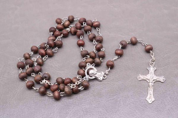 Klassische Holzperlen 6mm Rose Perfume Gebet Rosenkranz, Jesus-Kreuz-Halskette Stilvolle katholische Religion Schmuck