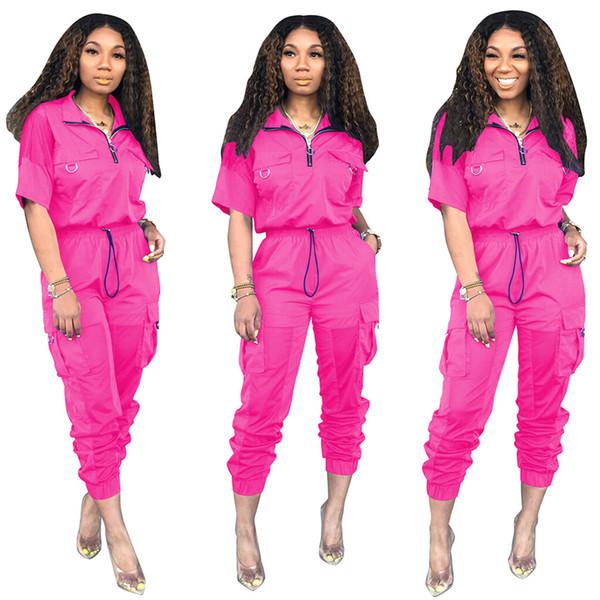 Мода лето 30% Уличная отворот шеи Лоскутной Леди Осень Mesh костюмы с коротким рукавом для женщин из двух частей Брюки