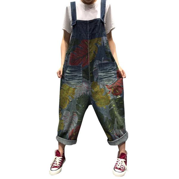Women Vintage Printed jean Jumpsuits big size Baggy Wide Leg Bodysuits cowboy Drop Crotch Denim Rompers Oversized Bib Harem pant