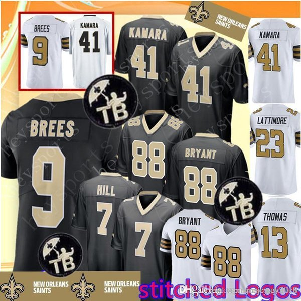 2019 Saints 9 Drew Brees 41 Alvin Kamara Jersey New Orleans Saints 88 Dez Bryant 7 Taysom Hill 13 Michael Thomas 23 Marshon Lattimore Jerseys From