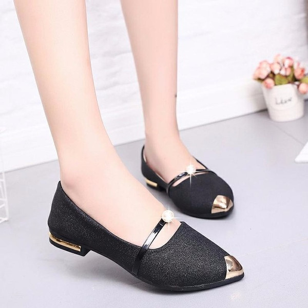 metal pointed toe flat shoes women loafers ladies rose gold boat shoes sequined ballet flats cinderella shoe luxury designers