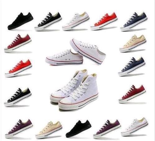 Envío de la gota Zapatos RENBEN Classic de alta calidad Low-Top High-Top zapatos de lona zapatillas de deporte de los hombres de las mujeres zapatos de lona Tamaño grande EU35-45