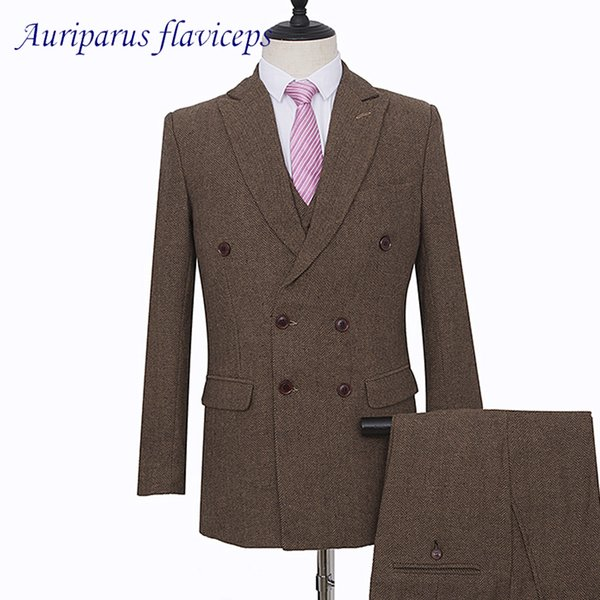 Brown Harringbone Man Suit Double Breasted Wedding Suit Tweed Groom Tuxedos Brown Blazer Groomsman (Jacket+pants+vest)
