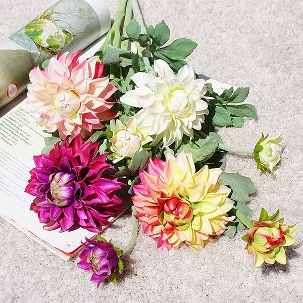 New Dahlia Flower Short Branch Silk Artificial Flowers For Wedding Table Decoration Mariage Flores Artificiales Fleur