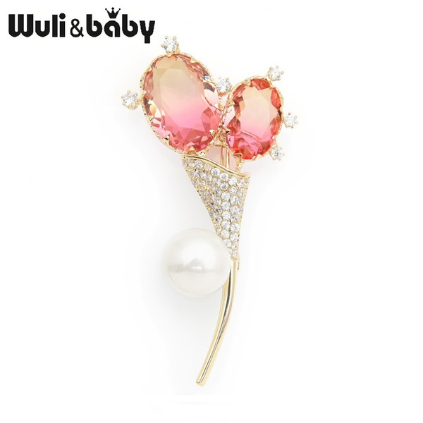 Wuli&baby Simulated Pearl Double Balloon Flower Brooches Pink Crystal Weddings Banquet Brooch Pins New Year's Gifts