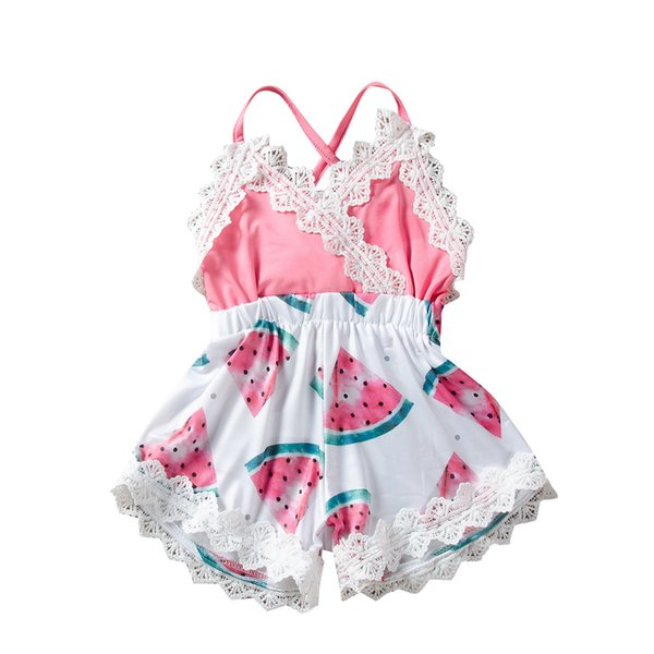 Everweekend Newborn Baby Lace Watermelon Print Halter Patchwork Romper Lovely Girls Kids Ins Sell Fashion Summer Romper Clothing