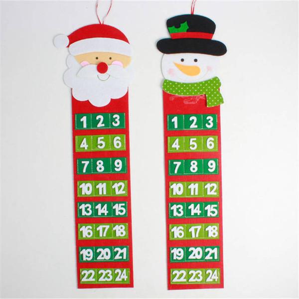 Christmas Advent Calendar Santa Claus Snowman Xmas New Year Countdown Hanging Ornaments Home Office Door Decoration 65*20cm 1PC