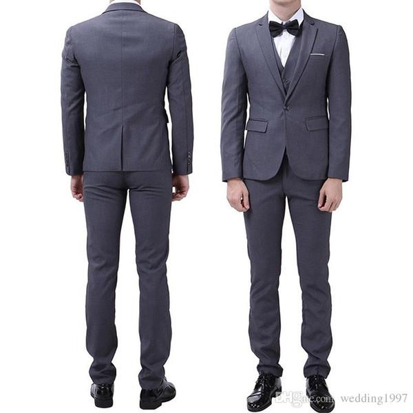 2018 Gris Tuxedos De Mariée Tuxedos Revers Un Bouton Trois Pièce Affaires Meilleur Hommes Costumes Veste Pantalon Gilet