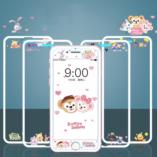 Cartoon Bear Tempered Glass Phone Screen Protector For iPhone 6 6s 7 8 Plus 9H Hardness 3D Curved Edge Anti-Scratch Anti-Explosion Cute