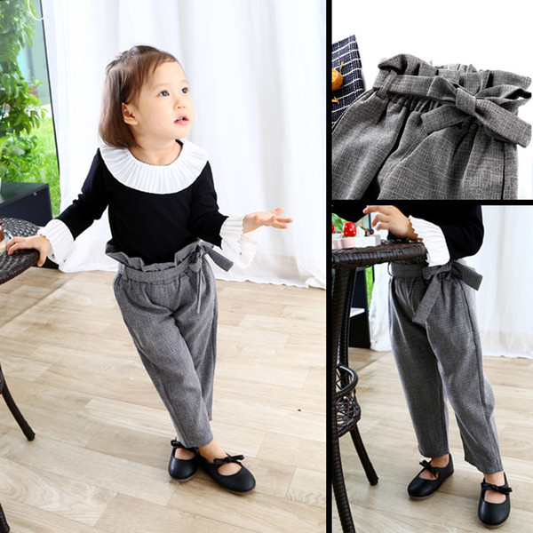 Baby Girls Plaid Pants Cotton Autumn High Waist Vintage Kids Spring Trousers Children Fashion Long Pant with Big Bow New Fashion