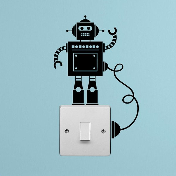 Tiny Robot Light Switch with Wire Vinyl Decal Wall Stickers
