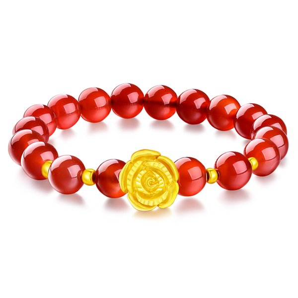 Gold Plated Rose Flower Bracelet Red Agate Beads Bracelet Transfer Luck Women Jewelry