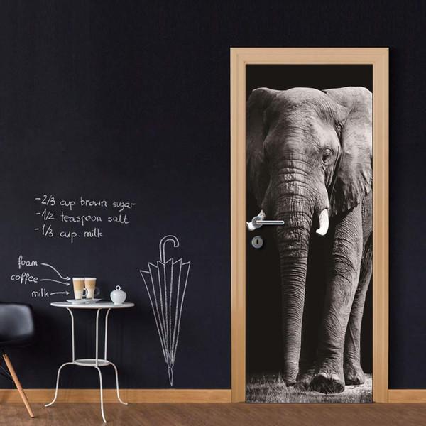 DIY Door Sticker Elephant Wall Sticker Decal Art Decor Vinyl Door Poster Removable Mural Door Wallpaper Kitchen accessories