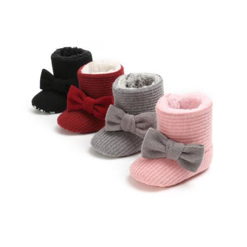 Kids Baby Girl Soft Booties Winter Warm Snow Boots Bowknot Sole Soft Shoes 0-18M