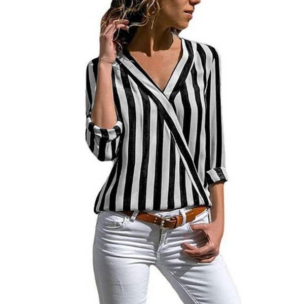 2019 Women Shirt Striped Long-Sleeved Irregular Shirts Fashion Spring Sexy V-Neck Work Office Shirt Plus Size Blouse Women