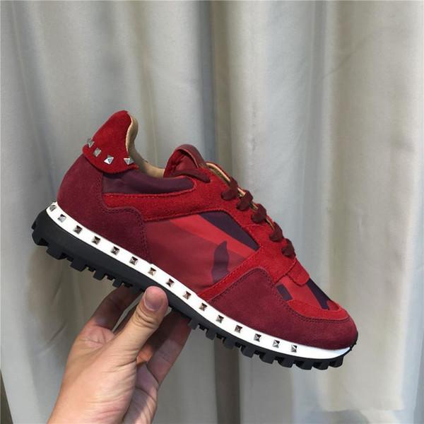 [Original Box] Designer de luxo Rock Stud Sneaker Sapato de Alta Qualidade Das Mulheres, Mens Sapatos Casuais Rock Runner Trainer Sapatos de Festa de Casamento 36-46