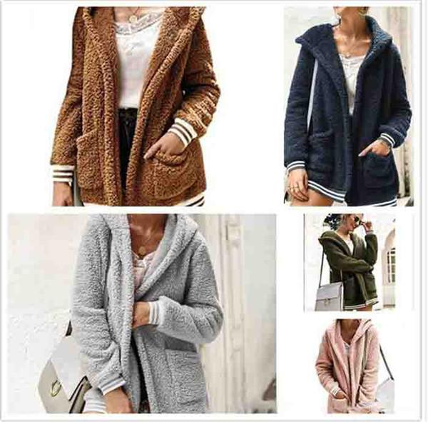 10pcs Women Plush Sherpa Hooded Outerwear Pocket hoodie Coat Warm Sweater Outdoor Casual Long Outwear warm Jacket overcoat M523overcoat