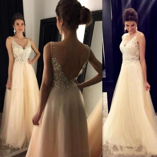 Custom Made Sexy V-neck Straps Champagne Long Prom Party Dresses Backless Illusion A-line Tulle Open Back Corset Evening Gowns For Girls