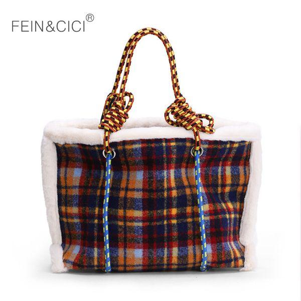 jumbo fur bag large big warm thread shoping totes handbag women ladies plaid casual yellow capacity shoulder bag 2018 winter new