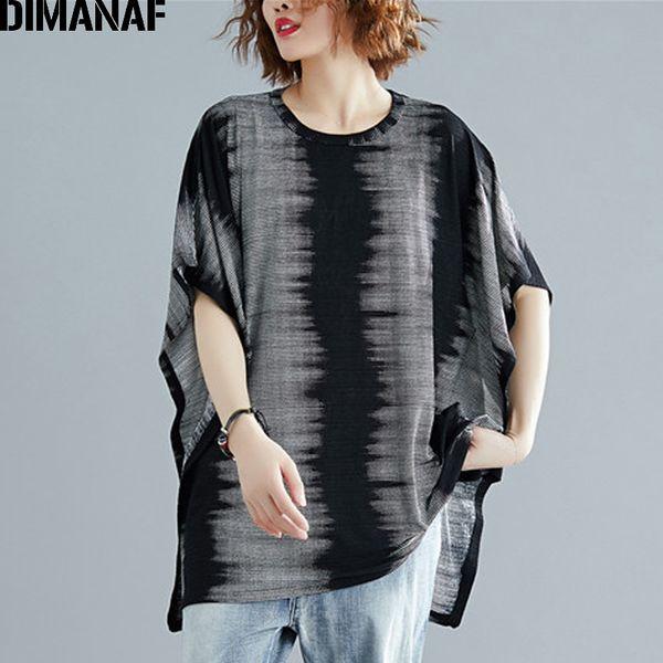 Großhandel Plus Size Frauen T-Shirts Baumwolle Big Size Lady Tops T Vintage Print weibliche Kleidung lose lässige Tunika Shirt 2019
