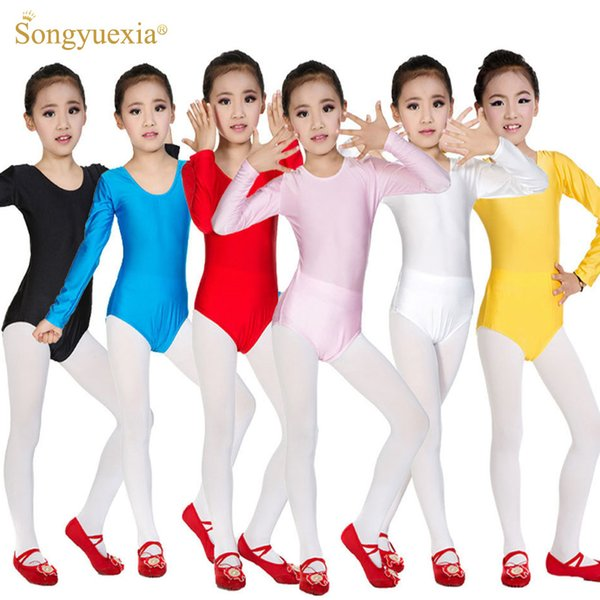İndirim Uzun kollu Spandex Jimnastik Leotard Kızlar için Bale Elbise Giyim Çocuk Dans Giyim Spandex Bale Dans Elbise