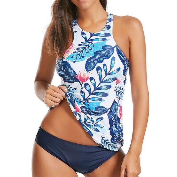 2019 Print Tankini Sexy Push Up Swimwear Women High Neck Floral Two Pieces Swimsuit Trikini Plus Size Bathing Suit Bikinis 2xl Y19072501