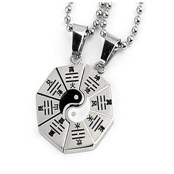 Yin Yang Bagua Map Necklace Pendant Vintage Silver Charms Choker Collar Statement Chain Couple Necklaces Bff For Women Jewelry Accessories