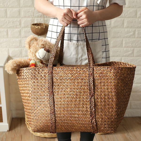 Mehrzweckbehälter Extra große natürliche Seegras gewebte Korb Panier Lagerung Blumentopf faltbare Kindergarten Wäsche Einkaufstasche # 490