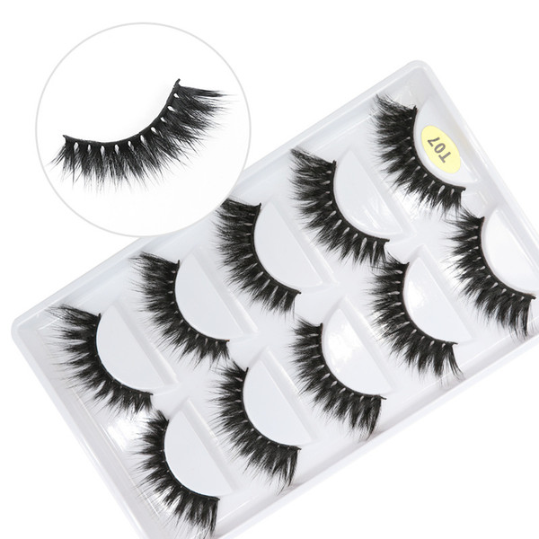 T07 factory wholesale price 7 styles 5pais EyeLashes Natural false Eyelashes 5 pairs 3D mink eyelashes silk eyelash