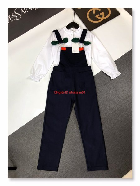 Camisas para niñas conjuntos de ropa de diseñador para niños camisa de encaje blanca clásica + pantalones de tirantes 2 piezas de moda nuevo conjunto de algodón de otoño