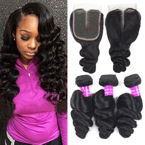 9a brazilian virgin hair 3bundle with clo ure exten ion weave peruvian malay ian human hair bundle with clo ure loo e deep wave curly hair, Black