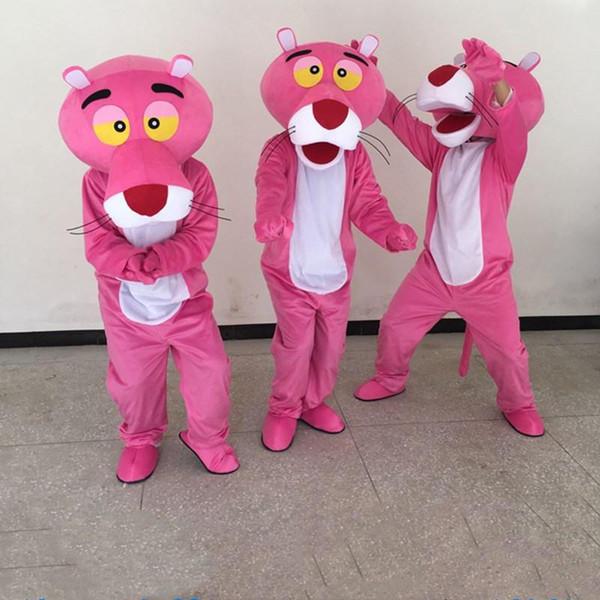 Erwachsenes rosafarbenes Panthermaskottchenkostüm-Karikaturkleidungs-Abendkleid