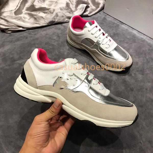 2019 New Günstige Herren und Damen Luxus Designer Schuhe, Plattform schwarz, rot und grau, Leder Marke Freizeit Sportschuhe Größe 38-44 J05
