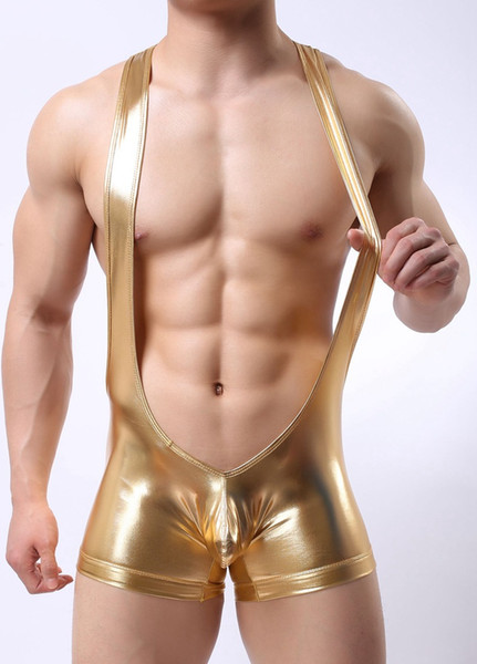 Mens Patent Leather Pants Gay Latex Rope Underwear Bandage Dance Clubwear Pants Cueca Boxer Pouch pant Night Club Wear