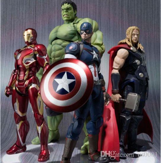 Красота нас новый горячий 16-22 см Мстители Тор Железный Человек Халк Капитан Америка подвижные действия