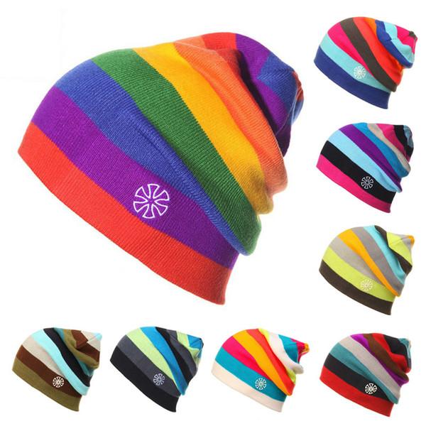 Rainbow Stripes Spring Winter Beanies Women Men Hats Knitted High Quality Brand Ski cap Sport Hat